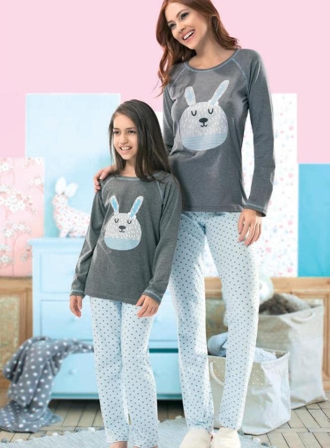 Tavşanlı Anne Kız Pijama Takım