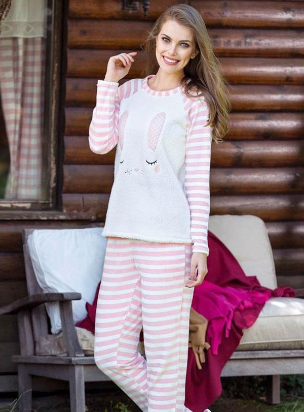 Tavşanlı Anne Kız Pijama Kombini (1)