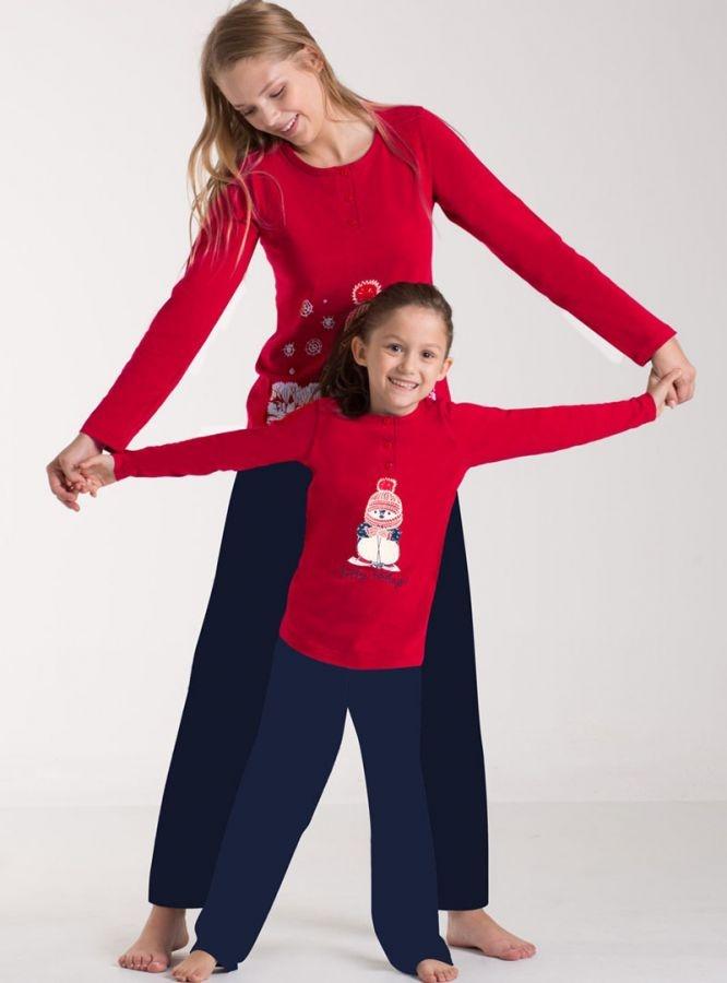 Kırmızı Anne Kız Pijama Kombini