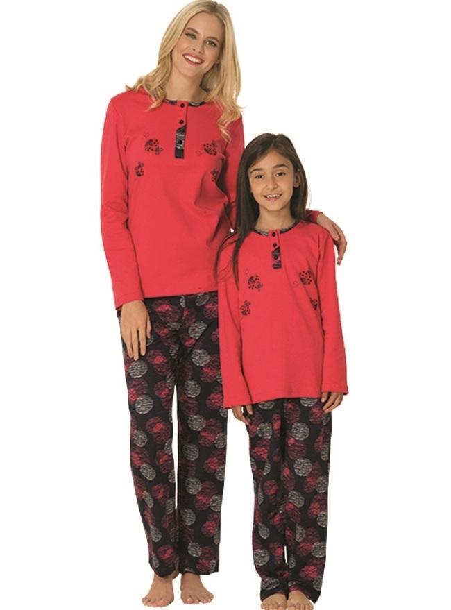 Uzun Kollu Anne Kız Pijama Kombini
