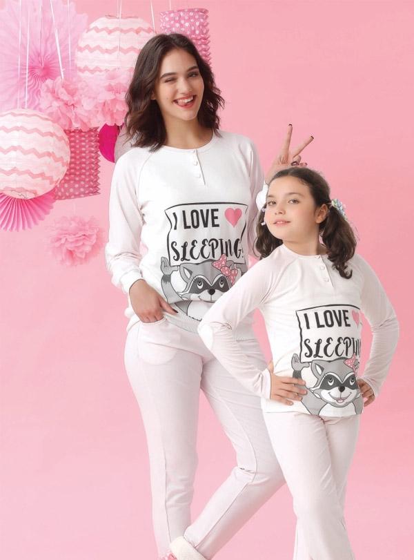 Baskılı Anne Kız Pijama Takım Kombini