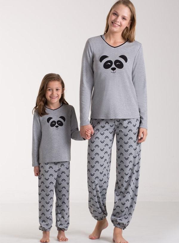 Panda Baskılı Anne Kız Kombini