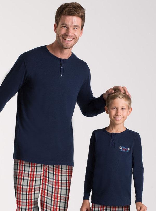 Kareli Baba Oğul Pijama Kombini