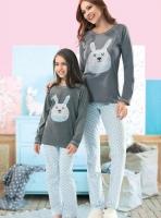 Tavşanlı Anne Kız Pijama Takım - Thumbnail