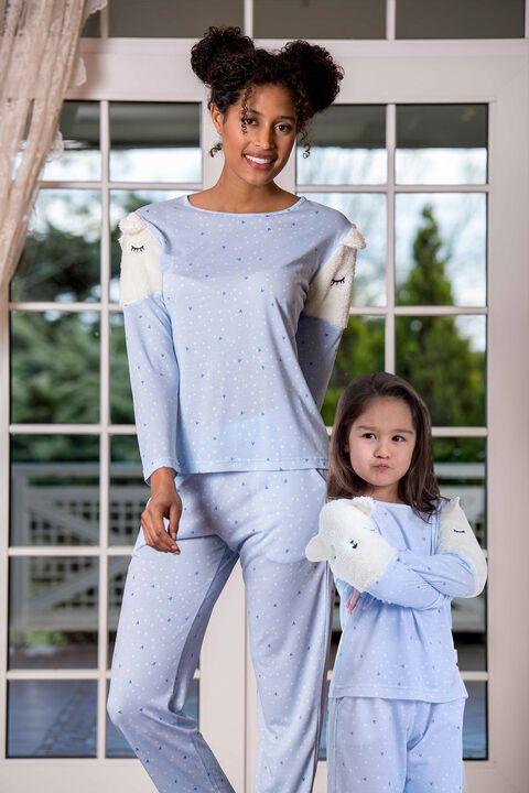 Omuzları Polarlı Anne Kız Pijama Takımı (1)