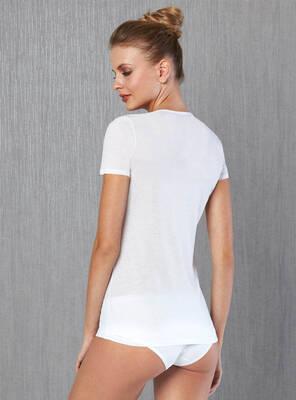 Doreanse - Büyük Beden Kısakol Geniş Yaka Kadın T-shirt (1)