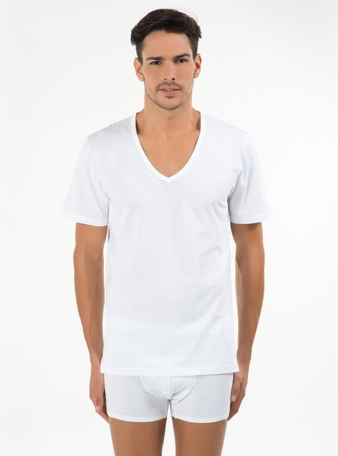 Enrico 2'li V Yakalı Erkek T-shirt