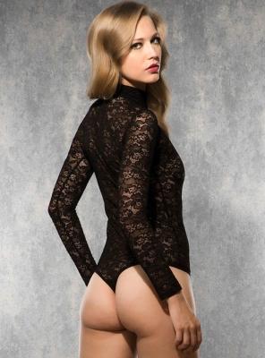 Doreanse - Siyah Dantelli String Bodysuit (1)